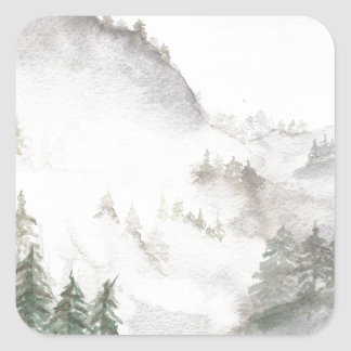 Adesivo Quadrado Montanhas enevoadas
