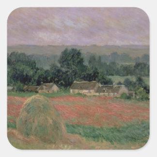 Adesivo Quadrado Monte de feno de Claude Monet | em Giverny, 1886