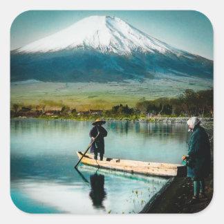 Adesivo Quadrado Monte Fuji do vintage do 富士 de Yamanaka do lago