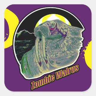 Adesivo Quadrado Morsa do zombi amarela/roxo no roxo
