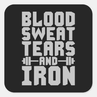 Adesivo Quadrado Motivação do exercício - sangue, suor, rasgos, e