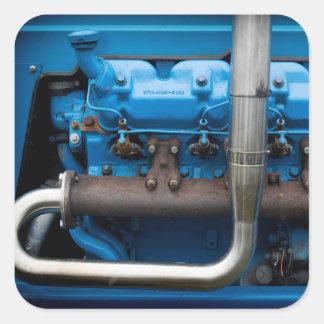 Adesivo Quadrado Motor azul do trator