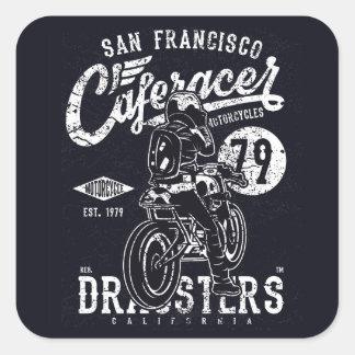 Adesivo Quadrado Motor Califórnia do piloto do café de San