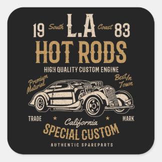 Adesivo Quadrado Motor do costume de Califórnia dos hot rod do LA