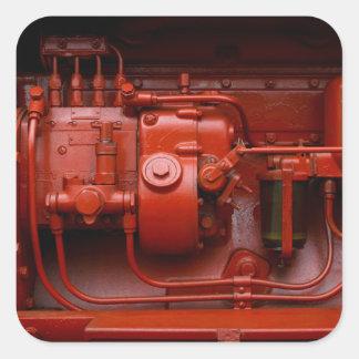 Adesivo Quadrado Motor vermelho do trator