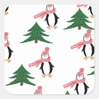 Adesivo Quadrado Muffin do pinguim do Natal