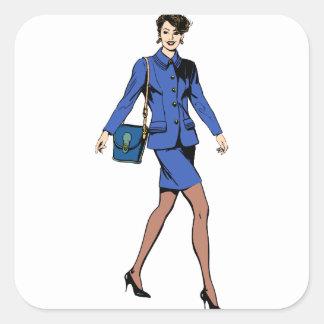 Adesivo Quadrado Mulher de negócio