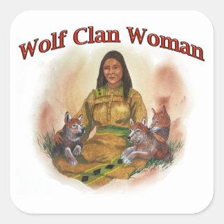 Adesivo Quadrado Mulher do clã do lobo