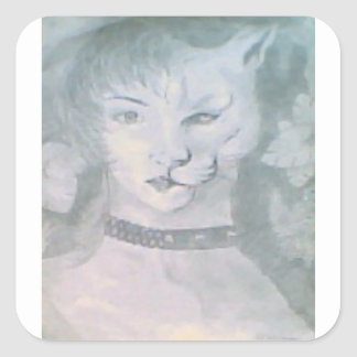 Adesivo Quadrado Mulher do gato