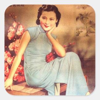 Adesivo Quadrado mulher idosa de shanghai do poster chinês do