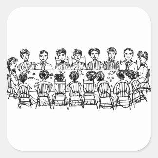 Adesivo Quadrado Mulheres em um partido de comensal