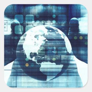 Adesivo Quadrado Mundo de Digitas e indústria do estilo de vida da