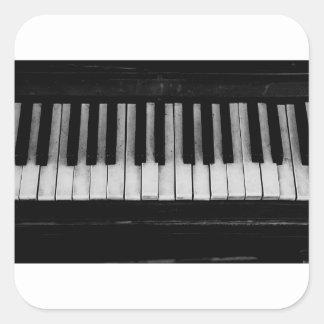 Adesivo Quadrado Música velha do instrumento do teclado de piano de