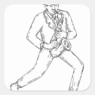 Adesivo Quadrado Músico de jazz que joga o saxofone Monoline