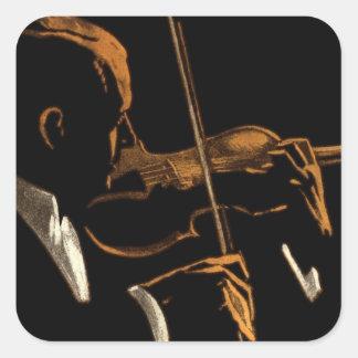 Adesivo Quadrado Músico do vintage, violinista que joga a música do