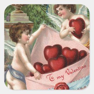 Adesivo Quadrado Namorados dos Cupido do vintage