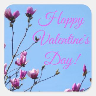 Adesivo Quadrado Namorados florais cor-de-rosa