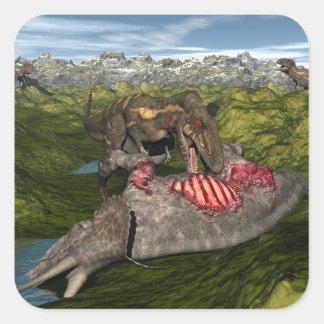 Adesivo Quadrado Nanotyrannus que come o triceratops inoperante