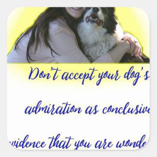 Adesivo Quadrado Não aceite a admiração do seu cão