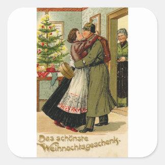Adesivo Quadrado Natal alemão do soldado do vintage retro