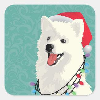 Adesivo Quadrado Natal bonito do cão de filhote de cachorro do