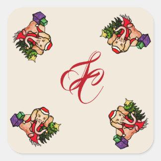 Adesivo Quadrado Natal bonito do monograma do elefante do papai