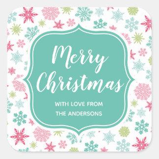 Adesivo Quadrado Natal colorido do país das maravilhas do inverno