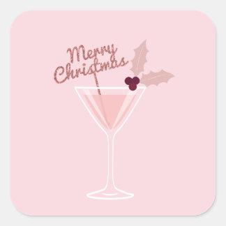 Adesivo Quadrado Natal cor-de-rosa de Martini
