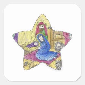 Adesivo Quadrado Natal da natividade: Bebê Jesus, Mary em um