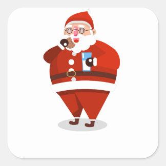 Adesivo Quadrado Natal de Papai Noel