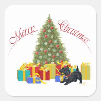 Adesivo Quadrado Natal de Terrier do Scottish