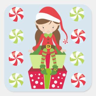 Adesivo Quadrado Natal do esmagamento dos doces