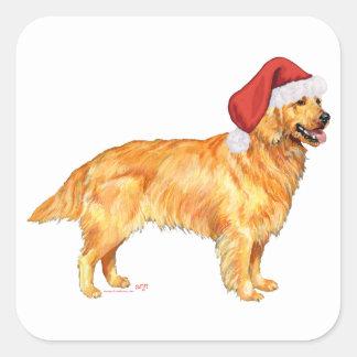 Adesivo Quadrado Natal do golden retriever