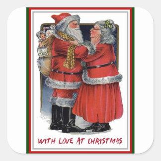 Adesivo Quadrado Natal do Sr. e da Sra. Claus Com Amor