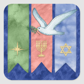 Adesivo Quadrado Natal Kwanzaa Hanukkah da paz da aguarela
