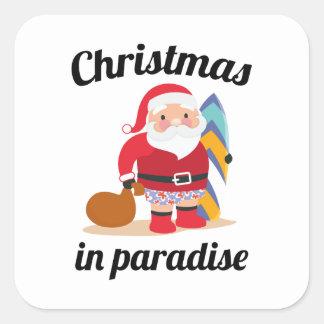 Adesivo Quadrado Natal no paraíso