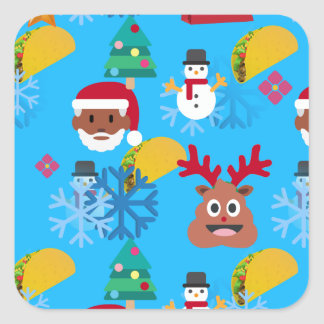 Adesivo Quadrado Natal preto do taco do papai noel