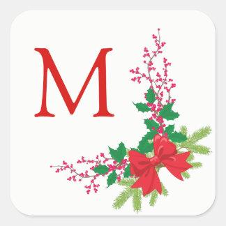 Adesivo Quadrado Natal vermelho do azevinho do arco