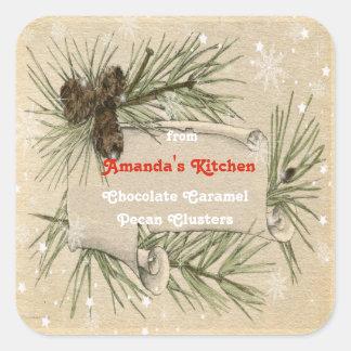 Adesivo Quadrado Natal vintage, cones do pinho, doces, deleites,