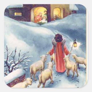 Adesivo Quadrado Natividade do pastor do anjo do natal vintage