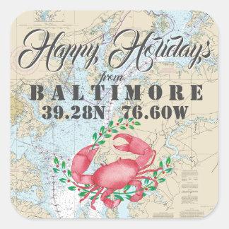 Adesivo Quadrado Náutico boas festas de Baltimore