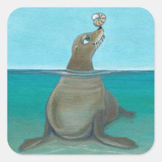 """Adesivo Quadrado """"Nautilus"""" o leão de mar"""