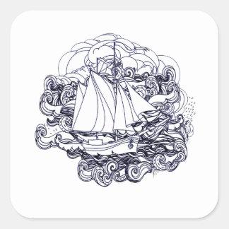 Adesivo Quadrado Navio colado na tempestade
