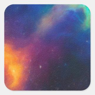 Adesivo Quadrado Nebulla abstrato com a nuvem cósmica galáctica 24