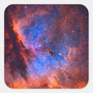 Adesivo Quadrado Nebulosa galáctica abstrata com nuvem cósmica -