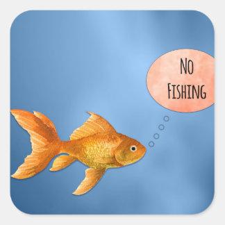 Adesivo Quadrado Nenhum peixe dourado da pesca