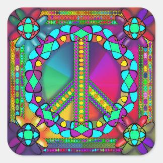 Adesivo Quadrado nenhuma zona das armas nucleares colorida