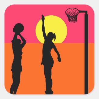 Adesivo Quadrado Netball temático do design do atirador do objetivo