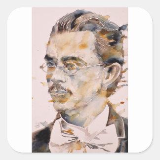 Adesivo Quadrado nietzsche de Friedrich - aguarela portrait.2