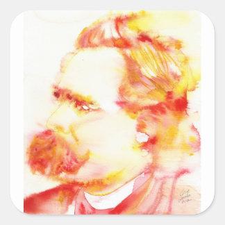 Adesivo Quadrado nietzsche de Friedrich - aguarela portrait.3